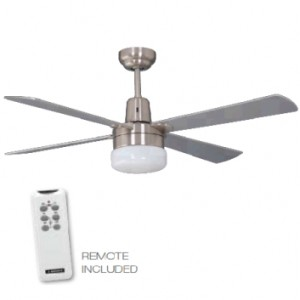 Fan, light and remote, silver, 4 blade 120cm