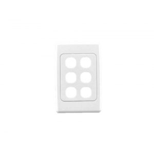 6 gang Clipsal 2000 series switch plate