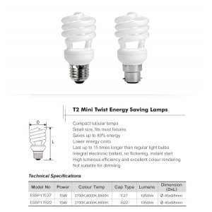 15W B22 warm white mini twist CFL