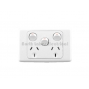 10Amp Clipsal 2000 series double GPO power outlet  with extra switch